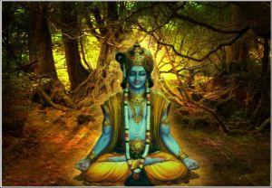 A Smurf meditating. Just kidding, it's Krishna.